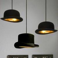 الحديثة الأسود الصمام E27 قلادة الأنوار الساحر النسيج الرامي القاتل قبعة مصابيح الإضاءة متجر الملابس الديكور الديكور