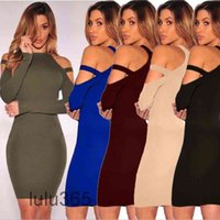 2021 Casual Dresses Clothes Women Solid Fashion Long Sleeve Strapless O-Neck Hip Sexy Sheath Dress lulu365