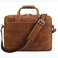 luxury crazy horse leather briefcase men satchel laptop genuine leather soft bag briefcase