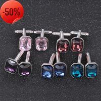 Jewelry men's Cufflinks square crystal shirt sleeve pin pattern