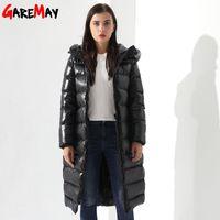 Зимняя куртка для женщин Doudoune Femme длинное перо с капюшоном Parkas Black Eartwear Теплое пальто Garemay 210428