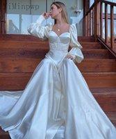 Marfim vestidos de baile doce coração manga longa varrer treinar uma linha cetim como seda ocasião especial vestido mulheres vestido de noite vestes de soriee