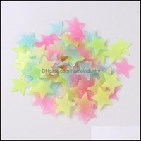Décor Home & Garden4 Color 3Cm Star Wall Stickers Stereo Plastic Luminous Fluorescent Paster Glowing In The Dark Decals For Baby Room Lx8643