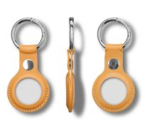 Caso portátil Airtag Shell Key Ring PU Cuero anti perdido Funda de teléfono celular para Apple Ubicación rastreador con hebilla