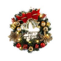 Decorative Flowers & Wreaths Spruce Christmas Wreath With LED Light Front Door Hanging Garland Holiday Home Product