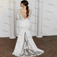 Simple Backless Beach Mermaid Wedding Dress With Long Sleeve Lace Boho Bridal Dresses Chic Satin Civil Bride Gowns Bohemain Women Robes De Mariage Vestios Novia 2021