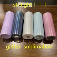 Tumbler de sublimación recta 20oz brillo bricolaje en blanco tumblers delgados con tapa de plástico y botella de doble pared de acero inoxidable de la paja