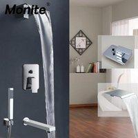 Monite Cascata Doccia Rubinetto Doccia Chrome Finish Modern Parete Set da parete Set da bagno in ottone solido