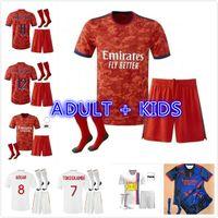 Adulto Kids Kit + Socks 21 22 22 Olympique Lyonnais Lyon Futebol Jerseys 2021 2022 Ol Traore Memphis Futebol Camisetas Maillot de pé