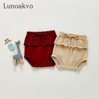 Shorts lunoakvo bebê menina cair roupas 2021 nascido ruffed pp calças de malha para 0-36m crianças fofas de algodão infantil