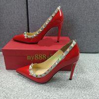 Kadın Elbise Ayakkabı Kaya Patent Yüksek Topuklu Damızlık Pompaları Perçinler Gerçek Deri Sivri Burun Düğün Ayakkabı Hediye Sevgililer Parti Ayakkabı Marka Kutusu 34-43