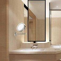"""Aynalar LED Çift Taraflı Büyüteç Makyaj Aynası, 6.0 """"15 cm Çapı 1x / 5X Ayarlanabilir Duvara Monte 360 Dönen Uzatılabilir Döner Mirro"""