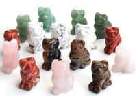 1.5 인치 높이 작은 크기 고양이 동상 공예 자연 차크라 돌 새겨진 크리스탈 reiki 치유 행운의 귀여운 동물 입상 1pcs