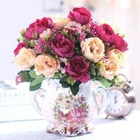 Avrupa Shabby buketi gelin, küçük peonies, ipek çiçekler, mini sahte çiçekler ev dekorasyon, iç dekorasyon dekoratif çelenk