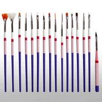 Tırnak Fırçalar 16 adet Sanat Fırça Astarı Süsleyen Fan Tasarım Akrilik Oluşturucu Düz Kristal Boyama Çizim Oyma Kalem UV Jel Manikür Aracı Seti