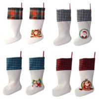 Sublimação Búfalo xadrez Christmas Moda 4 Cores Em branco Halloween Candy Socks Santa Gift Bag Xmas Tree Oranment C851