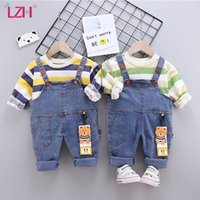 Clothing Sets LZH 2021 Spring Round Neck Striped Long Sleeve Sweater All-Match Denim Overalls Suits Baby Boys Clothes Children's Suit