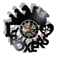 Wall Clocks Puppy Pet Animals Art Clock Dogs Paws Bone I Love Boxers Shop Record 3D Night Lamp
