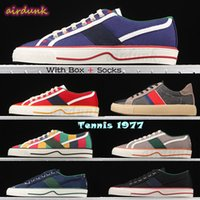 [Con caja] 2021 tenis de la mejor calidad 1977 hombres para mujer zapatos casuales de lona verde y rojo web zapato de raya italia bordado lujos de lujo diseñadores de mujeres de zapatillas de pelo baja