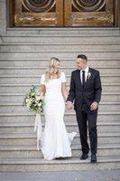 Estiramiento crepe sirena vestidos de novia modestos mangas cortas botones cuadrados retroceso simple lds bridal religioso novia vestido de manga