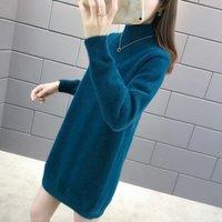 Vestito allentato delle donne del maglione della lunghezza media del cashmere della visone 202 nuova moda lazy mezzo alto colletto addensato base in autunno e inverno