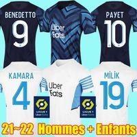 21 22 Olympique Maillots foot equipe Équipe De Marseille maglie da calcio 2021 2022 OM GUENDOUZI GERSON KONRAD MILIK KAMARA LUIS HENRIQUE PAYET magliette da calcio Uomo Bambini