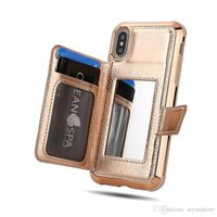 Luxury Wallet Cases With Credit Card Slots and Makeup Mirror Phone Cases for iPhone 7 11 X XR XS MAX Samsung S10 Plus