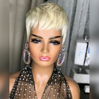 613 Blonde Color Short Wavy Bob Pixie Cut Wig Full Machine Made Remy Brazilian Human Hair Non Lace Wigs For Black Woman