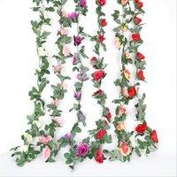 Flores decorativas grinaldas de alta qualidade 220cm simulação rosa videira 16 alvenaria sala de casamento restaurante flor flor jardim holiday d