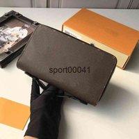 الرجال s zippy xl محفظة أكياس قماش العجل حقائب محفظة رمادي البني الزهور محافظ جلدية مع مربع