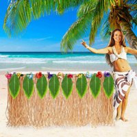 Table Skirt for Tropical Hawaiian Party Decorations Luau Party Decorations Supplies Adult's Kid's Birthday Table Cover Decor 210610