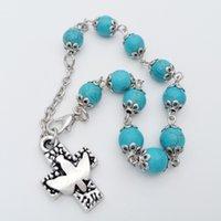Branelli turchesi e peace Bird Cross Bracelet Rose Gioielli religiosi