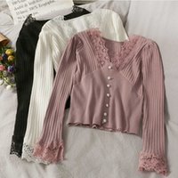 LY VAREY LIN Spring Autumn Women Lace Stitching Sweater Vertical Stripe Thin Slim Bottoming Shirt Short Tops 210526