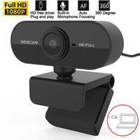 Webcam mini caméra Full HD 1080P Petite caméra Web USB avec microphone Webcast Réunion Network Photo Video Call Maison Bureau Webcamera Plug and Play pour ordinateur portable PC