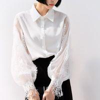 Women's Blouses & Shirts Lace Shirt Women Tops And Retro Hollow Out Pathwork Tassel White Blusas Mujer De Moda Lantern Sleeve Chiffon Blouse