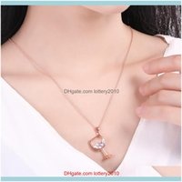 Necklaces & Pendants Jewelry Women Fashion Wine Glass Pendant Cubic Zirconia Long Chain Necklace Jewelry Gift Drop Delivery 2021 Mztwq