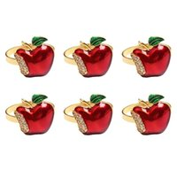 Ninges de servilleta 6pcs / set para la fiesta de bodas Serviette Navidad Cumpleaños Forma de manzana Forma de manzana Decoración de la mesa