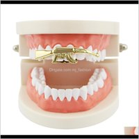 Grillz, Drop Delivery 2021 Hip Hop Handgun Grillz Real Plated Golden Sier Rose Gold Gun Black Dental Grills Cool Rappers Body Jewelry Ugxuo