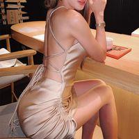 Propcm Cetim Mulheres Mini Bodycon Vestido Elegante Strapless Ruched Lace Up Cross Bandage Roupas Backless Sexy Party Club Slim Vestidos