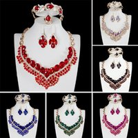 Water Drop Shape Gold Color Clear Crystal Jewelry Sets Fashion Wedding Bridal African Costume Necklace Earrings Bracelet Rin &