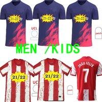 Atletico Soccer Jersey 21 22 João Félix Madrid 2021 2022 M. Llorente Koke Saundin Diego Colsa Camiseta كرة القدم قميص الزي الرسمي الرجال + أطفال كيت