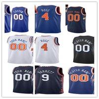 남자 Newyork 인쇄 농구 유니폼 데릭 4 로즈 엘 프리드 Payton 6 Immanuel Quickley 5 RJ Barrett 9 줄리어스 랜슬 30 알렉 버즈 사용자 정의 도시 적립 셔츠