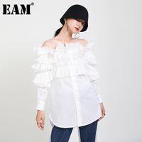 [EAM] Женщины белые оборками разделитель темперамент блузка косой шеи с длинным рукавом свободная подходит рубашка мода весна осень 2021 1da256 женские блузки