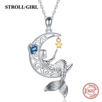 StolzGirl 925 Sterling Silber Schöne Meerjungfrau Anhänger Kette Zirkon Moon Star Halskette Für Frauen Modeschmuck Freies Schiff 210621