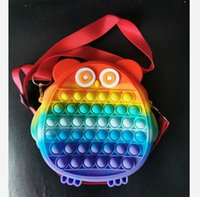 Rainbow owl cartoon silicone purses kids baby wallet sensory fidget toy push bubble board game crossbody shoulder bags coin bag storage mobile phone pouches G96WE2I