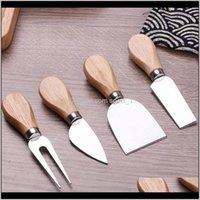 Кухонная столовая Бар Домашний сад Drop Доставка 2021 4 шт. Всселованные Сырные ножи набор набор дубовой ручкой масло вилочный разбрасыватель нож Kit