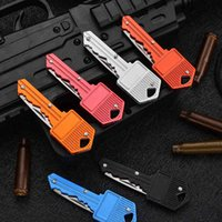 Key Shape Mini Folding Knife Fruit Multifunctional Chain Outdoor Saber Swiss Self-Defense Knives EDC Tool Gear ILCY