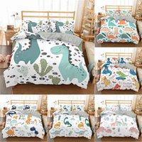 Conjuntos de ropa de cama Conjunto de edredón Cubierta de edredón Dibujos animados Dinosaurio Impreso Dormitorio Textiles para niños Chica con almohadas Doble tamaño individual