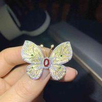 Colife Schmuck 925 Schmetterlingsparty 4 * 6mm Ruby Mode Silber Edelstein Brosche Geschenk für Frau