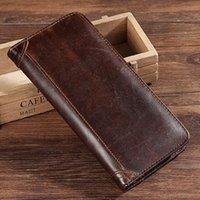 Wallets Genuine Leather Purse Real Cowhide Men Bifold Long Designer Cash Coin Pocket Card Holder Clutch Bag Vintage Male Wallet